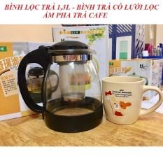 Bình Lọc Trà Thủy Tinh Tặng Kèm 4 Ly 700ml Sang Trọng – CÓ LỖi LỌC TRÀ INOX – BÌNH PHA TRÀ , CAFE TIỆN LỢI 2in1 – Bình trà 1.3L (Chọn phân loại)