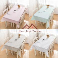 Khăn trải bàn caro nhựa PVC chống thấm nước màu sắc nhẹ nhàng trang trí bàn ăn, chống bụi, chống dầu