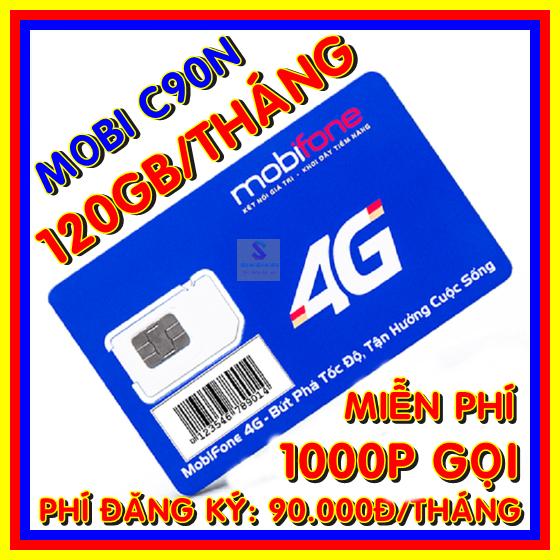 [Nhập ELAPR21 giảm 10% tối đa 200k đơn từ 99k]Sim 4g Mobifone C90N gói 4Gb/ngày (120Gb/tháng) + 50 phút gọi ngoại mạng – Sim Mobi C90N xài thả ga – Shop sim giá rẻ
