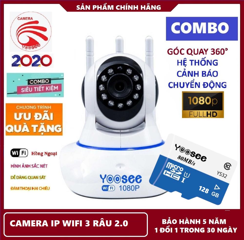 Bảo hành 5 năm-Tùy chọn kèm thẻ nhớ 128 GB,Camea ip wifi 3 râu Yoosee 2.0 MPX,Camera hỗ trợ hồng ngoại nhìn đêm,đàm thoại song phương tại KIM LONG STORE