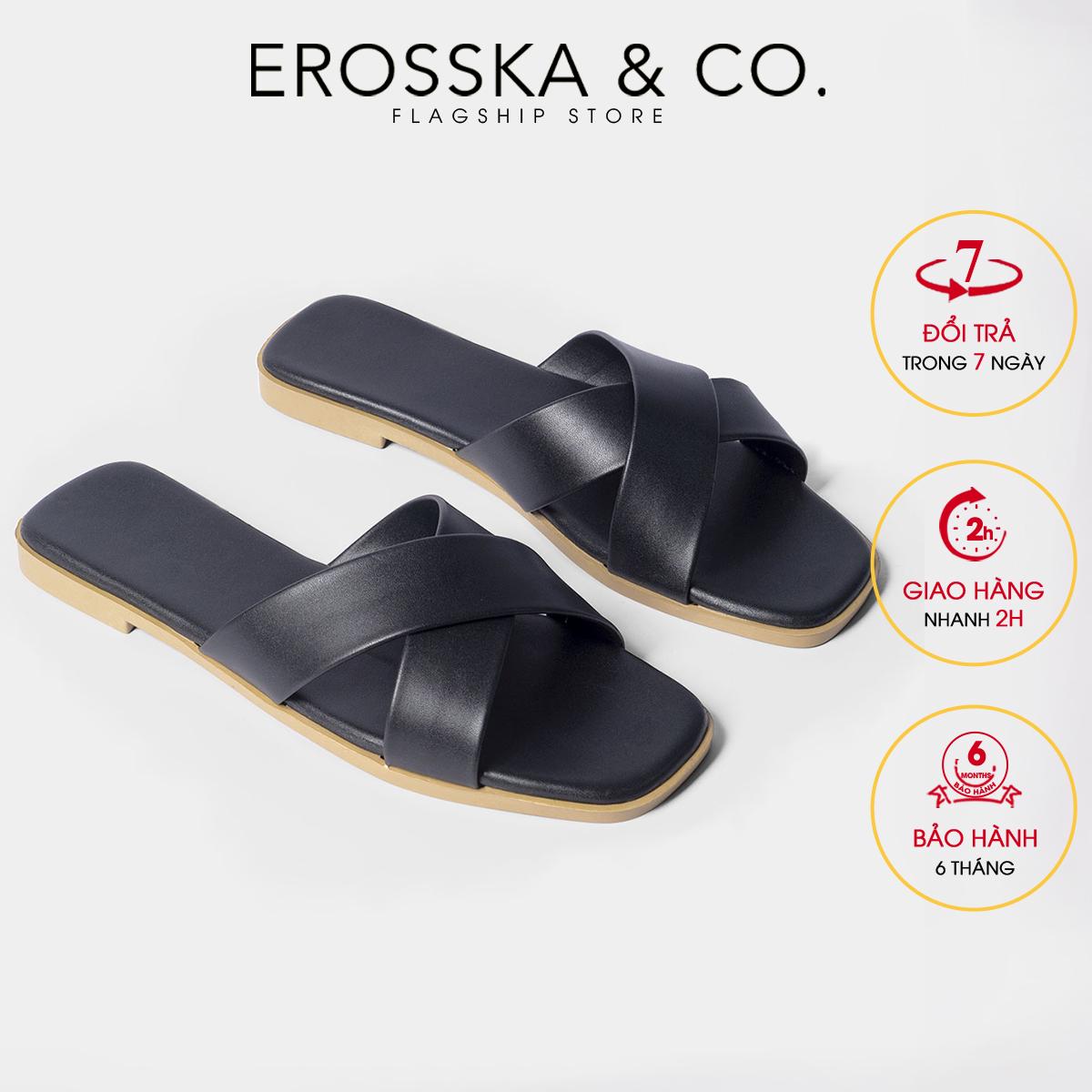 Dép đi biển thời trang Erosska 2021 thời trang mũi vuông thiết kế phối dây quai chéo DE029 (BA)