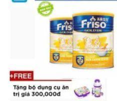 Bộ 2 Lon Bột ăn dặm Gạo sữa Friso Gold 300g ( Tặng Kèm bộ ăn dặm ) – HSD luôn mới