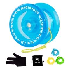 MAGICYOYO Crystal Blue K1 Responsive Yoyo Ball, 3 Strings+Glove+Yoyo Bag Gift