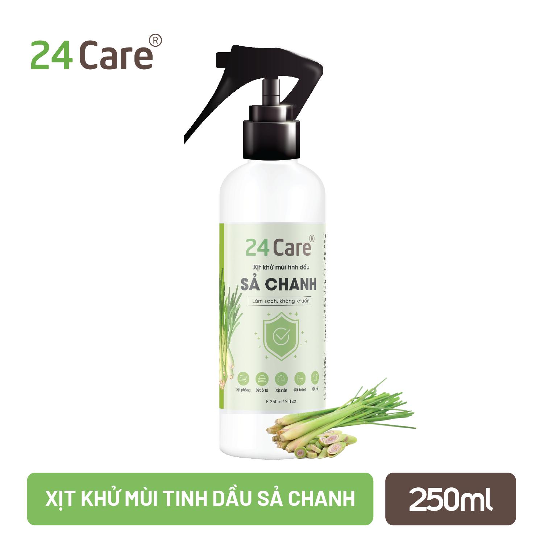 Xịt Phòng Tinh Dầu Sả Chanh Hữu Cơ Organic 24Care 50ML/100ML – Kháng khuẩn – Khử mùi hôi – Đuổi muỗi, kiến ba khoan,Vắt – côn trùng – Hương thơm thư giãn