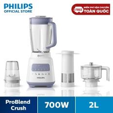 Máy xay sinh tố Philips HR2223/00 (Trắng) – Bộ 3 cối xay nhựa – 5 chế độ cài đặt sẵn- Nghiền mịn đá, nhanh gấp 2 lần- Hàng Phân Phối Chính Hãng –