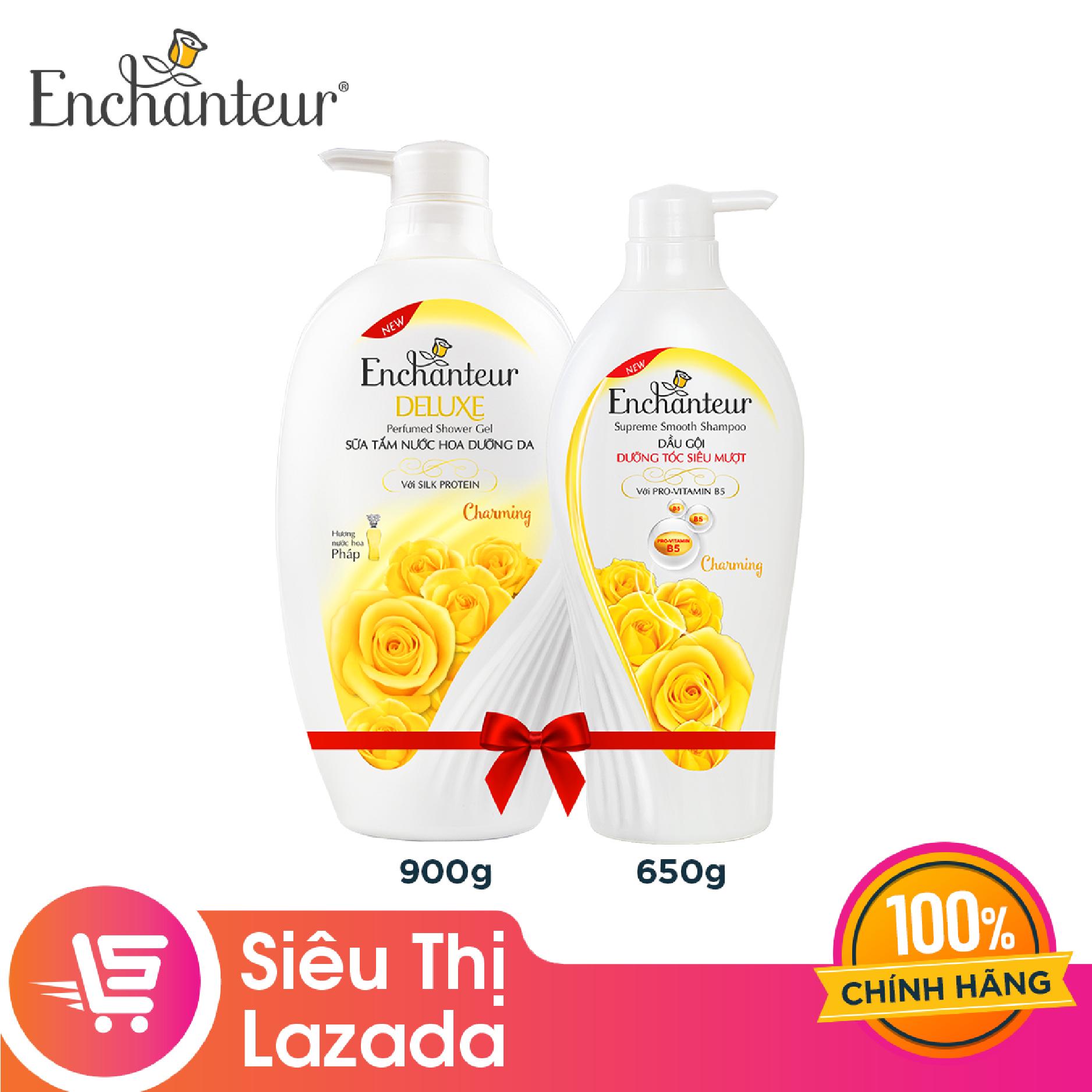 [Siêu thị Lazada] Combo Enchanteur Charming: Sữa tắm 900g + Dầu gội 650g – giúp tóc mềm mượt óng ả hương nước hoa Pháp lưu lại lâu trên tóc
