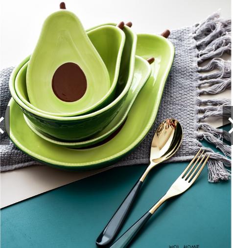 Combo bộ bát đĩa gốm sứ tráng men hình quả bơ gồm 5 chi tiết