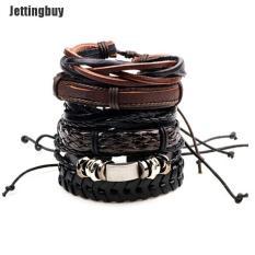 Jettingbuy Nira 6 Cái/bộ Vòng Tay Nam Cổ Điển Dây Da Nhiều Lớp Dây Sáp Vòng Đeo Tay Dây Bện