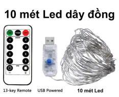 Dây đèn LED dây đồng 10m có Remote điều khiển, Dây đèn chớp nháy dùng trang trí nhà quán cafe, tiệc Giáng Sinh, Sinh nhật hoặc đón tết năm mới | Kyto Shop