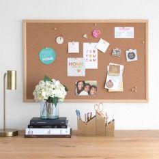 }Bảng ghim gỗ bần để bàn, treo tường dán ghi chú, đánh dấu, treo tranh ảnh/ Phụ kiện decor trang trí nhà cửa, phòng làm việc