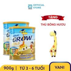 Bộ 2 lon sữa bột Abbott Grow 3+ 900g Tặng Thú bông hươu
