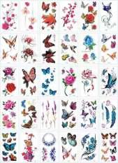 107 Hình Xăm Dán Tatoo Hoạ Tiết Bướm Và Hoa