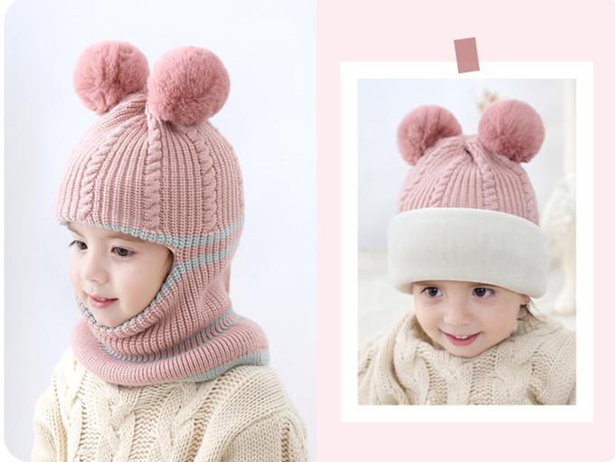 Mũ len trùm mặt lót nỉ siêu ấm họa tiết 2 quả bông cho bé nhiều màu