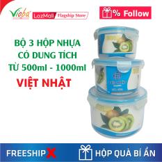 [3 hộp nhựa] Việt Nhật tròn có nắp đựng thực phẩm có 3 dung tích khác nhau từ 500ml đến 2000ml – Dùng được tủ lạnh và lò vi sóng