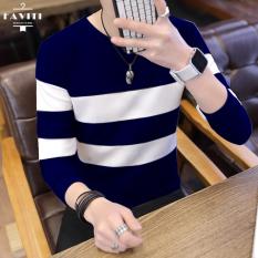 Áo len nam cổ tròn kẻ ngang FAVITI kiểu dáng Hàn Quốc AL80