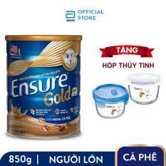 Lon Ensure Gold hương Cà phê 850g Tặng Hộp thủy tinh