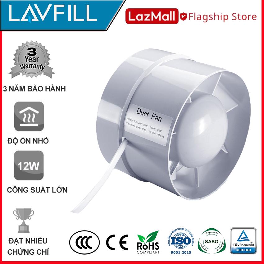 Quạt thông gió đường ống 100mm, Quạt hút tăng áp đường ống, không ồn hãng LAVFILL LFI-09S