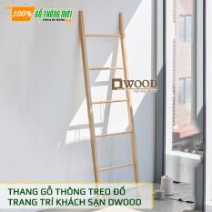 [Decor] Thang gỗ thông Decor không gian, treo đồ Dwood, thang gỗ tròn treo đồ nhà hàng, khách sạn