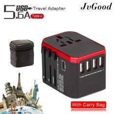 JvGood Ổ Cắm Điện Đa Năng Du Lịch có 3 cổng sạc 4 USB 1 Type-C Quốc Tế USB Du Lịch Đa Năng 2 cổng Cắm Sạc (Đen)-quốc tế