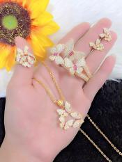 [ RẺ VÔ ĐỊCH ] Bộ trang sức vàng 18k, bộ trang sức nữ bướm hoàng gia dát đá pha lê sáng lung linh chạm đá pha lê hồng siêu xinh xắn thiết kế tinh tế thời trang Trang sức Gadoshop VB416091904 – dùng đi tiệc cực kì sang chảnh
