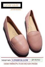 [SALE] Giày Augustino Moca Nữ Đế Bằng Da Bò Thật (Màu Hồng)