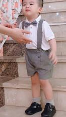 Bộ áo trắng Lacos phối quần dây kèm nơ cho bé trai