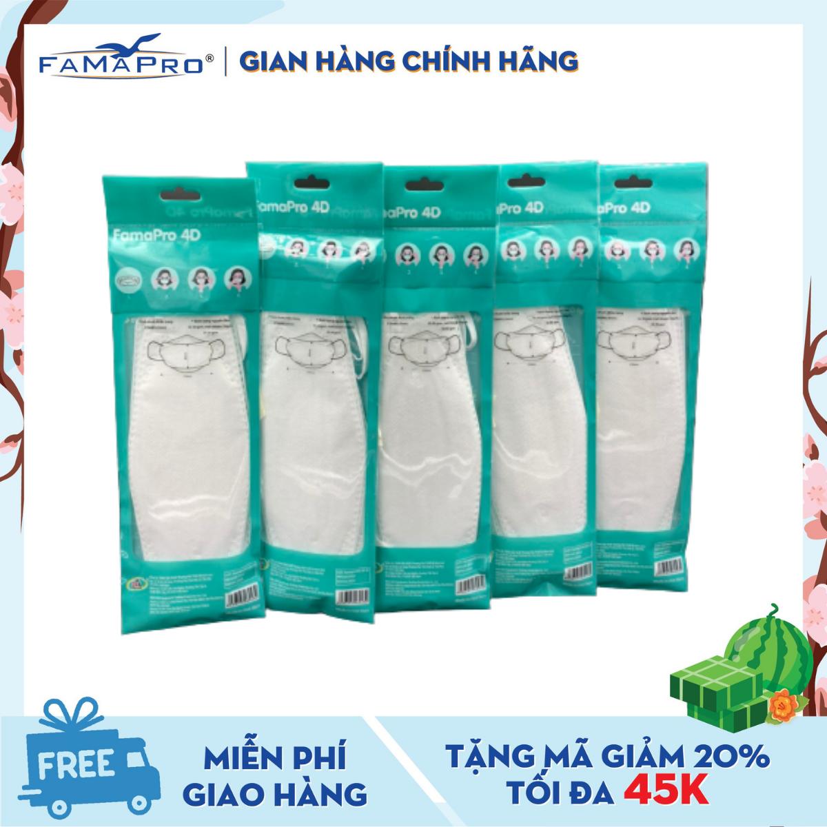 Combo 5 túi khẩu trang y tế cao cấp kháng khuẩn 3 lớp Famapro 4D DẠNG TÚI ( 5 cái /túi )