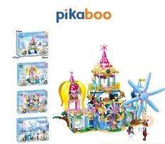 Đồ chơi Xếp hình lâu đài tuyết và cối xay gió Pikaboo, Bộ lắp ráp 146 miếng ghép, chất liệu nhựa bóng bền khỏe, an toàn