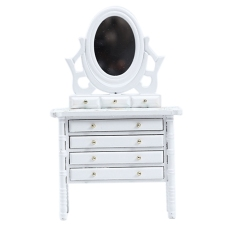 1:12 Dollhouse Miniature Wooden Makeup Dressing Table with Mirror Drawer Bedroom Furniture Pretend Furniture