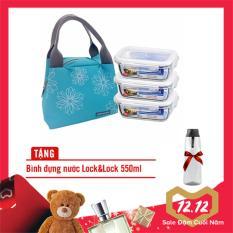 Bộ hộp cơm thủy tinh chịu nhiệt L&L 4EA 430ML (LLG424*3,LLG424BLU(TZ)-0*1) – Màu xanh TZ LLG424BTZ3