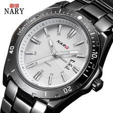 Đồng hồ nam Nary R112 dây thép không gỉ máy chạy pin Kháng nước 30m lịch ngày hoạt động vạn niên