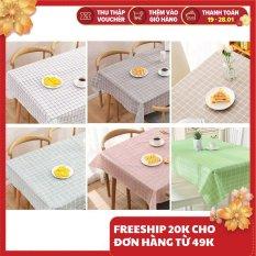 Khăn trải bàn decor kẻ caro nhựa PVC không thấm nước lót bàn ăn nhiều kích cỡ verygood việt nam