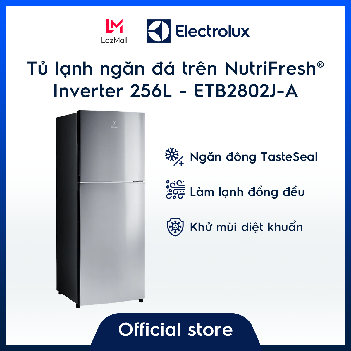 Tủ lạnh Electrolux 256L ETB2802J-A – Thiết kế châu Âu – Ngăn đông mềm giữ thực phẩm tươi ngon – Khử mùi diệt khuẩn – Hàng chính hãng