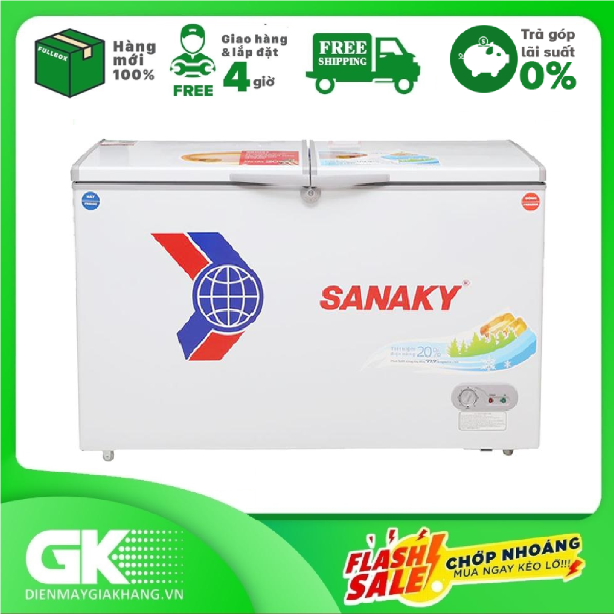 [Nhập ELAPR21 giảm 10% tối đa 200k đơn từ 99k]TRẢ GÓP 0% – Tủ đông dàn đồng Sanaky VH-2299W1- Bảo hành 2 năm