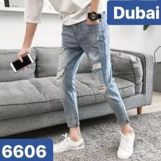 QUẦN JEAN NAM CHẤT BÒ XÁM RÁCH GỐI VẠCH ĐEN BD539- DUBAI FASHION