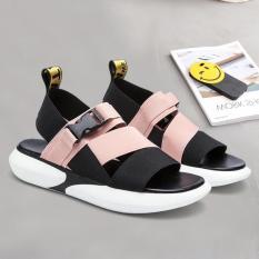 Sandal hai quai chéo khóa bấm hàn quốc – hai màu Đen và Hồng – TGS-0060