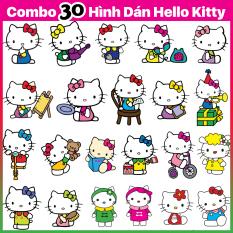 Combo 30 Hình Dán Mèo Hello Kitty – Sticker Mèo Ú Trang Trí Mũ Bảo Hiểm Điện Thoại Xe Máy – Chống Thấm Nước