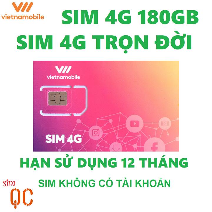 Sim 4G trọn đời vnmb 180GB có hạn sử dụng 12 tháng không có tài khoản