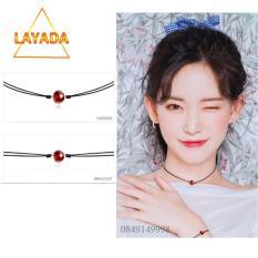 Vòng cổ choker nữ ( VC35068) Mặt hạt pha lê nhựa đỏ hạt lựu xinh style Hàn Quốc – LAYADA