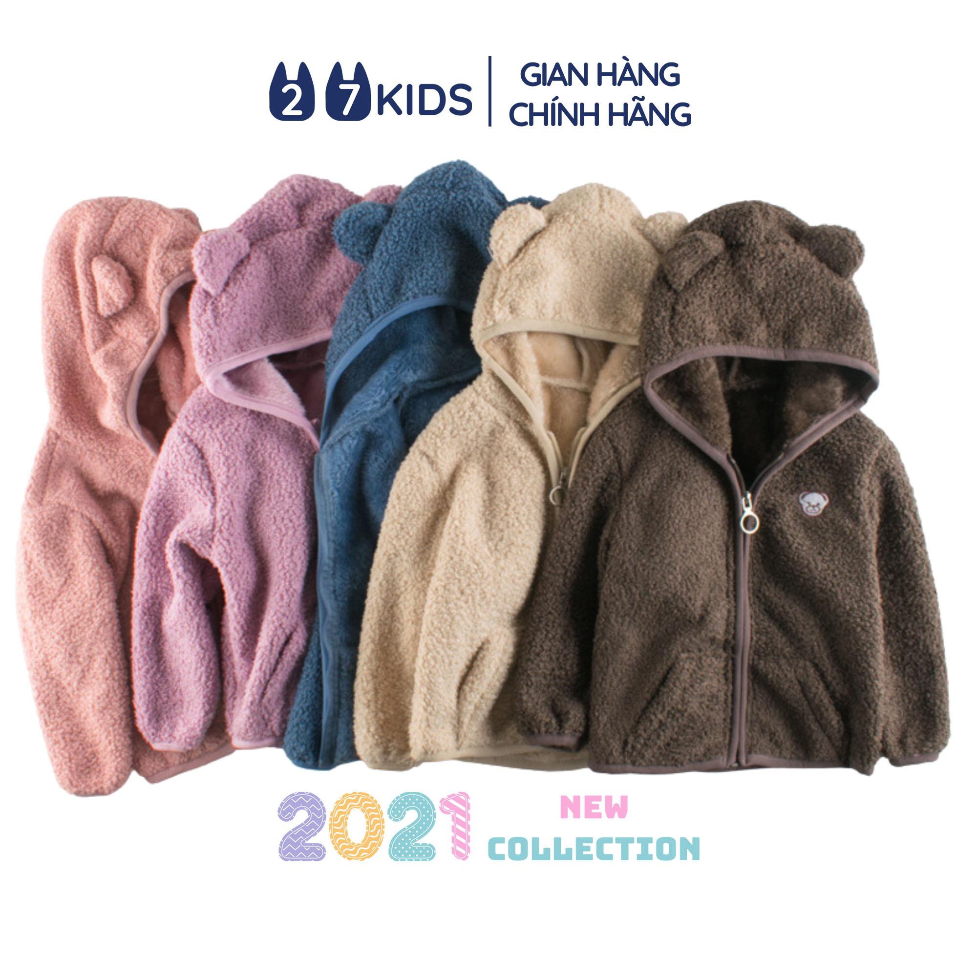 Áo khoác lông cừu cho bé trai bé gái 27Kids áo ấm mùa đông có mũ cho trẻ 2-8 tuổi...