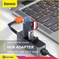 Bộ USB Hub Baseus Steel Cannon USB A to USB 3.0 * 3 và RJ45 cho laptop