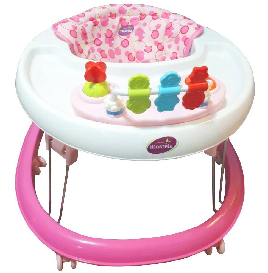 Xe tròn tập đi có đồ chơi và nhạc cho bé Mastela W2002 bánh xe cao su hãm di chuyển...