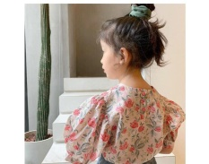 Áo sơ-mi hoa tay phồng bé gái 2-8T
