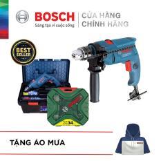 Bộ máy khoan động lực Bosch GSB 550 FREEDOM 90 chi tiết kèm Bộ Mũi Khoan Xline 34 Chi Tiết – Tặng áo mưa Bosch