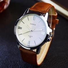 Đồng hồ nam dây da Yazole 332 (Trắng Bạc Nâu)