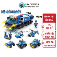 Đồ chơi trẻ em Xếp hình Lego 6 trong 1 xe Cảnh sát Lele Brother, ghép hình lego giá rẻ Space Kids