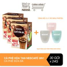 [Tặng bộ 3 ly sứ màu pastel] Combo 3 hộp cà phê hòa tan Nescafé 3in1 cà phê sữa đá (10 gói x 24 g)