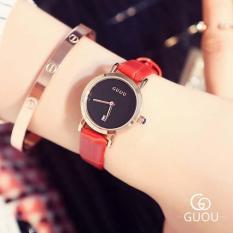 Đồng hồ nữ dây da GUOU 8127 – Mặt đen dây đỏ