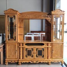 kệ ti vi kết hợp với tủ rượu gỗ gõ đỏ