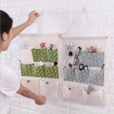 Túi đựng đồ đa năng treo tường 7 ô kèm 2 móc treo tiết kiệm diện tích vải canvas bền đẹp – giao màu ngẫu nhiên